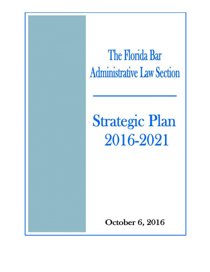 "Cover Showing ""The Florida Bar Administrative Law Section: Strategic Plan 2016-2021 (October 6, 2016)"